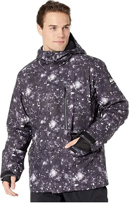 Quiksilver Snow Mission Printed Jacket (Military Olive GPS Print) Men's Clothing
