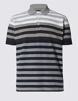 Blue Harbour Tailored Fit Pure Cotton Striped Polo Shirt