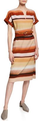 Lafayette 148 New York Cosimia Sunrise Watercolor Belted Knee-Length Dress