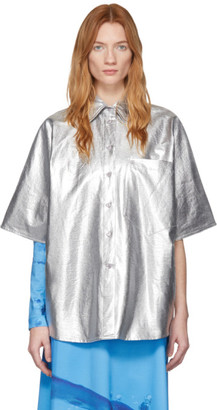 pushBUTTON Silver Metallic Over Shirt