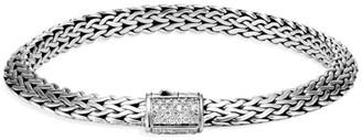 John Hardy Classic Chain Sterling Silver & Diamond Pave Tiga Chain Bracelet