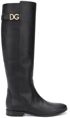 Dolce & Gabbana Knee-Length Logo Plaque Boots