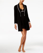 Thalia Sodi Satin-Trimmed Knit Wrap Robe, Only at Macy's