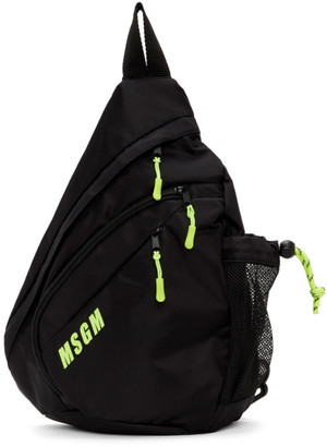 MSGM Black Logo Monostrap Backpack