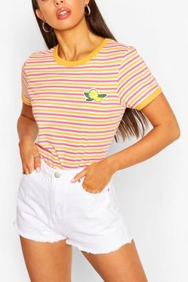 boohoo Lemon Stripe Ringer T-shirt