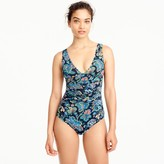 J.Crew Long-torso ruched femme one-piece swimsuit in floral paisley print