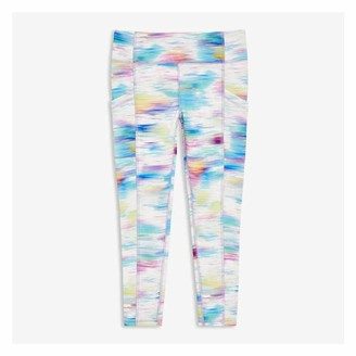 Joe Fresh Kid Girls' Print Active Leggings, White (Size S)