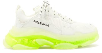 Balenciaga Triple S Leather And Mesh Trainers - Yellow White