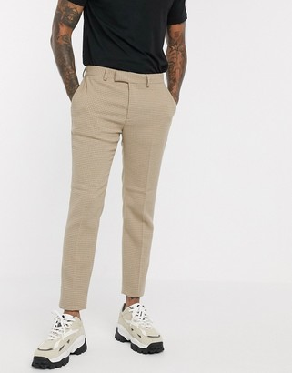 ASOS DESIGN skinny smart trousers in wool mix camel houndstooth check