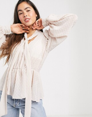 Asos DESIGN long sleeve top top with pussybow in sheer dobby in blush