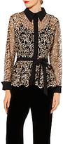 Gina Bacconi Lisa Embroidered Long Sleeve Blouse, Black/Gold