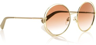 Longchamp Round Double Trim Sunglasses - Gold