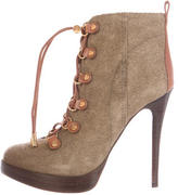 Tory Burch Suede Lace-Up Ankle Boots