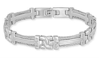 """Steel by Design Rope and Greek Key Design 8"""" Bracelet"""
