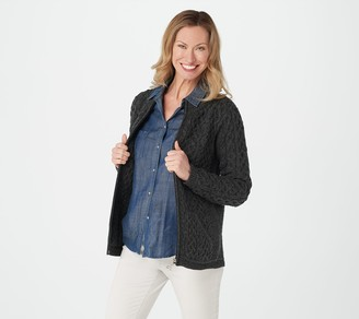 Aran Craft Merino Wool Zip-Front Cardigan