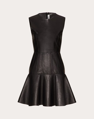 Valentino Short Leather Dress Women Black Lambskin 100% 38