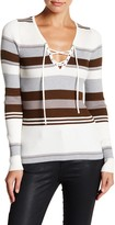 Romeo & Juliet Couture Long Sleeve Lace-Up Striped Pullover
