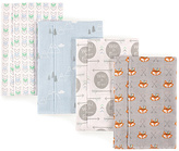 Luvable Friends Blue & Gray Wild & Free Layered Flannel Burp Cloth - Set of Four