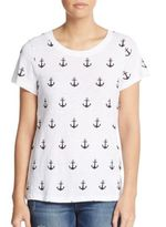 French Connection Sonny Anchor-Print Cotton Slub Jersey Tee