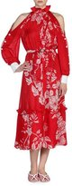 Fendi Floral Cold-Shoulder Ruffled-Neck Dress, Red/White