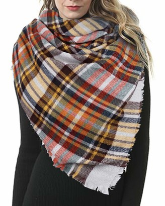 Ecombos Women Scarf - Winter Tartan Scarf Plaid Large Scarves Warm Wraps Wool Shawl Stole Blanket Scarf For Ladies