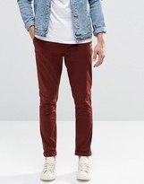 Asos Super Skinny Chinos In Burgundy