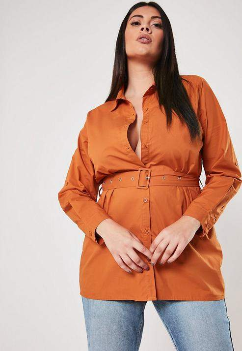 Missguided Plus Size Rust Belted Shirt