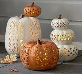 Pottery Barn Filigree Punched Ceramic Pumpkins