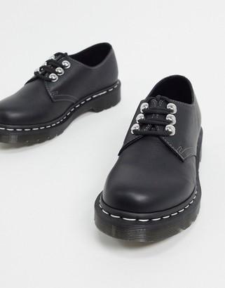 Dr. Martens 1461 hardware 3 eye flat shoes in black