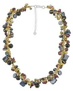 Aeravida Handmade Vibrant Style Stones and Crystals on Silk Thread Pearl Necklace