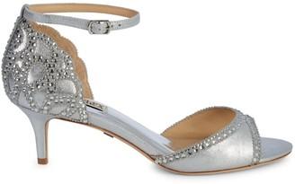 Badgley Mischka Gillian Metallic-Leather Peep-Toe Sandals