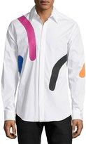 Versace Abstract-Print Long-Sleeve Dress Shirt, White Multi