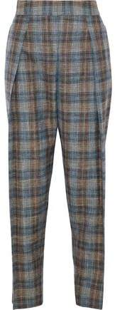Giorgio Armani Checked Wool Silk And Linen-Blend Tapered Pants