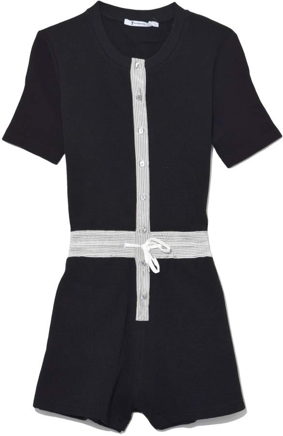 Alexander Wang Heavy Waffle Button Up Romper in Black