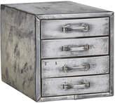 Rejuvenation Polished Steel 4-Drawer Parts Cabinet