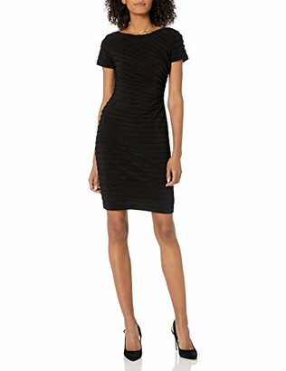 Adrianna Papell Women's Pintucked Draped Sheath