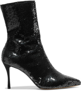 Tabitha Simmons Wendie Sequined Stretch-mesh Ankle Boots