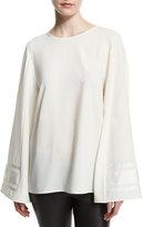 Public School Henne Bell-Sleeve Silk Tie-Back Top, Off White