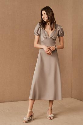 BHLDN Shelley Satin Midi Dress By in Grey Size 0