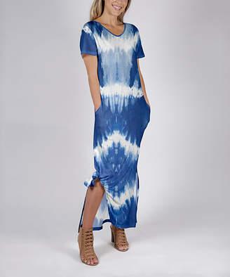 Beyond This Plane Women's Maxi Dresses BLU - Blue & White Tie-Dye Stripe Pocket Maxi T-Shirt Dress - Women & Plus