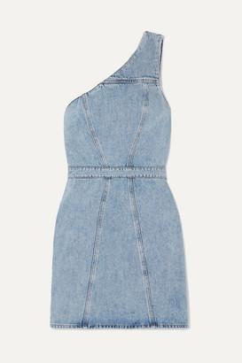 AGOLDE Annex One-shoulder Denim Mini Dress - Light denim