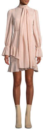 See by Chloe Tonal-Check Tie-Neck Flounce Short Dress