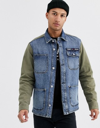 Tommy Jeans back print cargo mix denim jacket in khaki