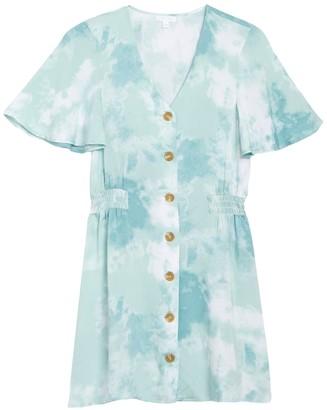 Abound Flutter Sleeve Button Front Dress