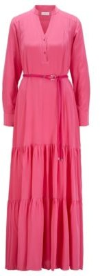 HUGO BOSS Maxi Dress In Silk Georgette With Hardware Trimmed Belt - Pink