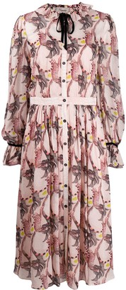 Temperley London Maggie feather-print shirt dress