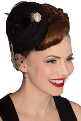 Dancing Days Vintage 40's 50's Fascinator Net Feather All A Dream Wedding Hat - Burgundy