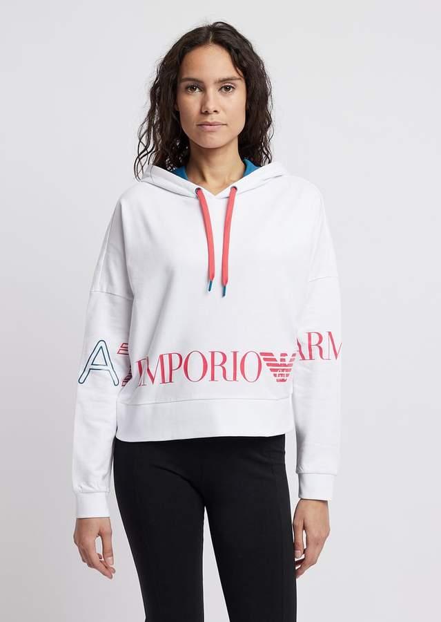f51b729a30 Ea7 Cropped Sweatshirt With Hood And Maxi Logo