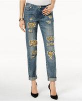 MICHAEL Michael Kors Ripped Embellished Straight-Leg Jeans