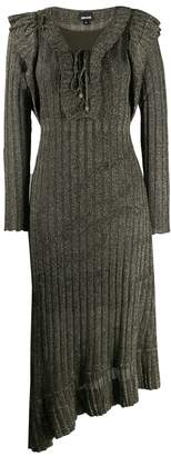 Just Cavalli ruffle trimming ribbed knit dress